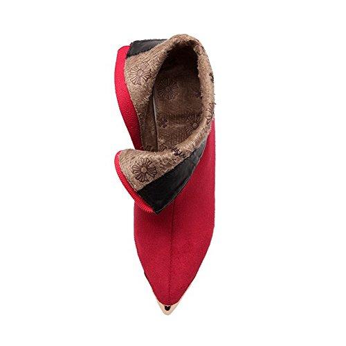 AllhqFashion Damen Knöchel Hohe Reißverschluss Mattglasbirne Hoher Absatz Spitz Zehe Stiefel Rot