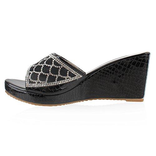 Damen Sandaletten Korkoptik Wedges Pantoletten Metallic Schwarz Kroko Muster