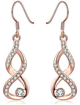 Adisaer 18K Vergoldet Damen Ohrringe Diamant Zirkonia Unendlichkeit Ohrhänger Tropfen Kristall Infinity Nummer...
