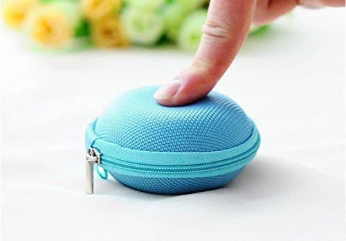 Tonsee® Mini Zipper écouteurs casque Sac de stockage Box étui de transport de casque (Rose) Bleu