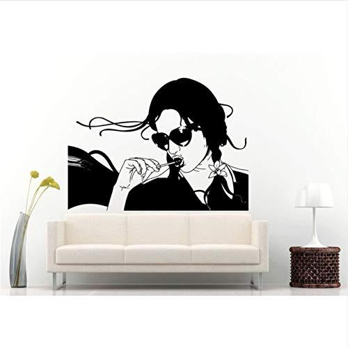 Lovemq 42 * 57 Cm Mode Stil Frau Mit Lolly Pop In Ihrem Mund Wandbild Vinyl Tapete Mädchen Mit Sonnenbrille Shades Wohnkultur