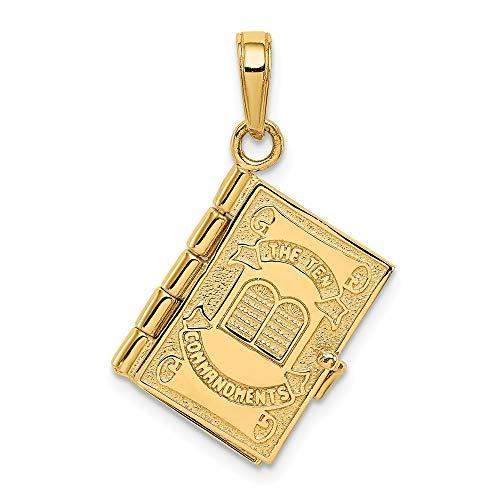 Anhänger aus 14 Karat Gelbgold, Bibelform, 10 Gebote