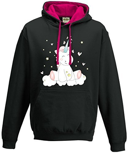 Kapuzenpullover Sweatshirt Shirt Damen Pullover Hoodie Unicorn Einhorn cutie (L)