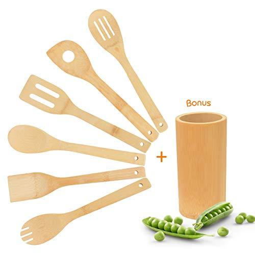 Pfannenwender Kochlöffel Küchenutensilien Küchenhelfer Küchenzubehör - Holz kochlöffel Set aus Bambus Bonus Küchenutensilienhalter