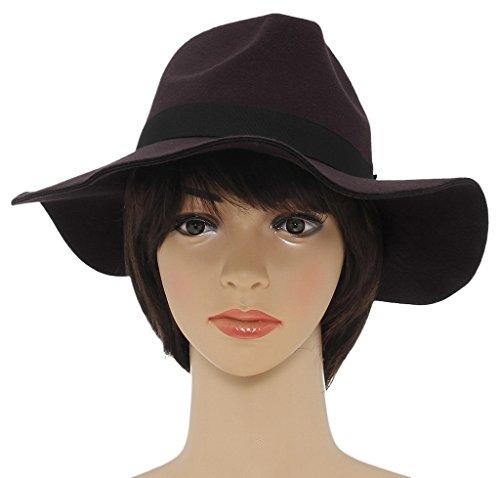La Vogue Chapeau Capeline a Bord Large Laine Mixte Feutre Femme Hiver Fedora Trilby 5 brun