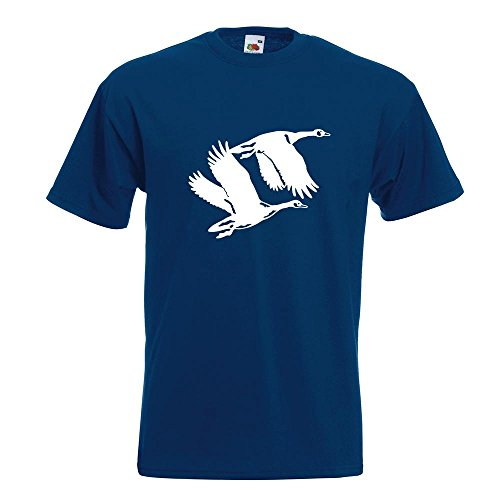 Kiwistar Enten - Flugenten - Duck T-Shirt in 15 Verschiedenen Farben - Herren Funshirt Bedruckt Design Sprüche Spruch Motive Oberteil Baumwolle Print Größe S M L XL XXL Navy