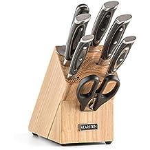 Klarstein Katana 8 Set de cuchillos con soporte de madera y Tijeras Afilador (8 unidades, acero inoxidable 3cr13, mangos de plástico, elegante diseño, cortar, cocina, picar)