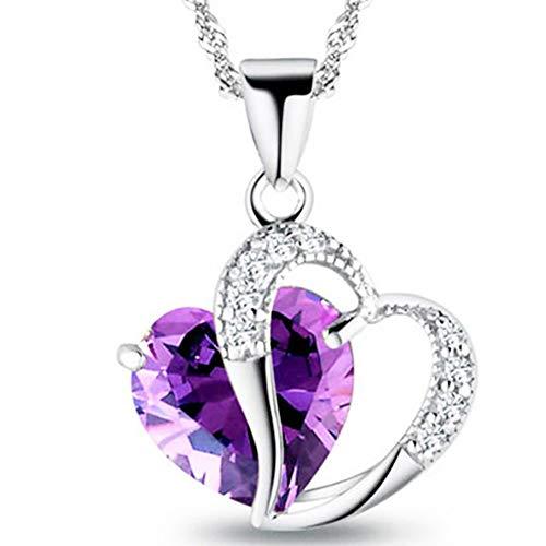 548f0f6dbec04d Collier En Argent femmes Accent coeur améthyste Diamant Swarovski Elements  Crystal Love Collier Pendentif