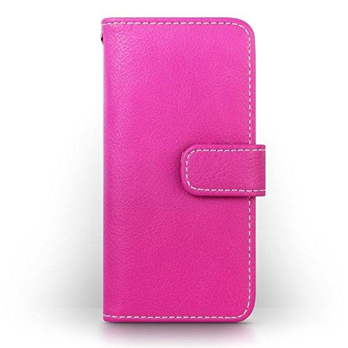 iPhone SE Cover, Terrapin Handy Leder Brieftasche Case Hülle mit Kartenfächer für iPhone SE Hülle Rot mit Blumen Interior Pink mit Blumen Interior