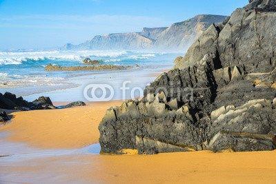 Wunschmotiv: Rocks in the Atlantic Ocean near Praia do Castelejo-fantastic beach on the southwest coast of Portugal. Region Algarve #122679912 - Bild hinter Acrylglas - 3:2 - 60 x 40 cm / 40 x 60 cm -