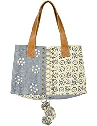 Madelyn Maddy Women's Handbag (Light Blue And Off-White, MM-10-17-000017-KLM-AIJ)