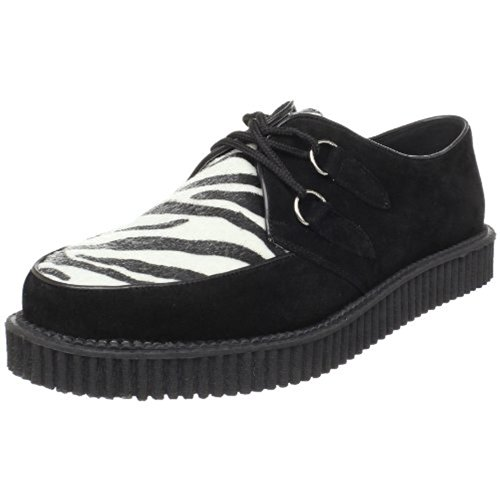 Demonia Creeper-600, Richelieu Homme Velourleder Zebra