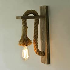 Homesake Rope Wall Lamp with Wooden Stand, E27 Holder with Filament Bulb