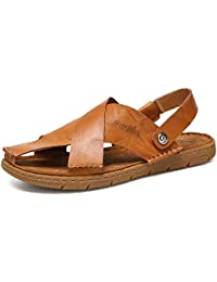 8e898c46b Men s Slippers Genuine Leather Beach Slippers Casual Sandals Non-Slip Soft  Flat Closed Toe Adjustable Backless