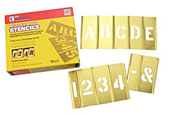 C H Hanson 10068 Lot de 45 pochoirs numéros et lettres Laiton 2,54 cm