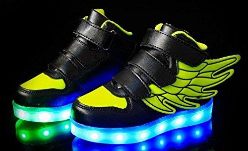 Firstmall-LED Chaussures High Top 7 Couleur Unisexe garçons et filles enfants USB Charge LED Ailes légères Chaussures de Sports Baskets Noir+Vert