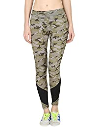 ONESPORT Military Green & Black Printed Slim Fit Ankle Length Sports Tights for Women(ONSP38CK)