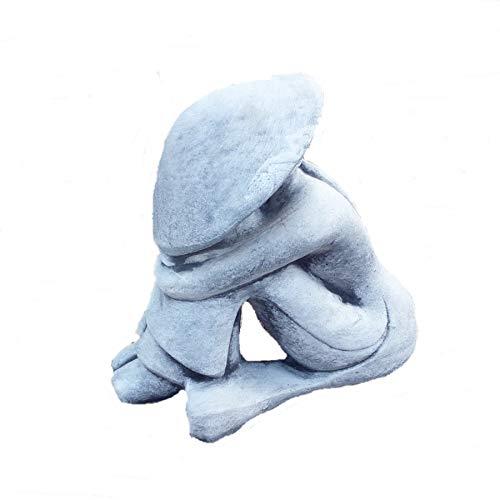 Steinfigur Chinese Japan Reisbauer Bauer Gartenfigur Skulptur massiver Steinguss Frostfest