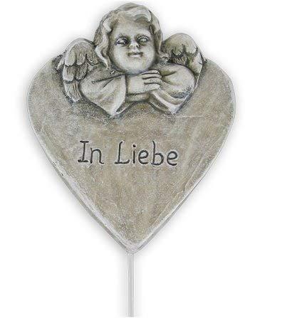 Grabschmuck Herz mit Engel zum Stecken Herz mit Schriftzug In Liebe Grabdekoration Grabherz Trauerschmuck Trauerdeko Trauerherz