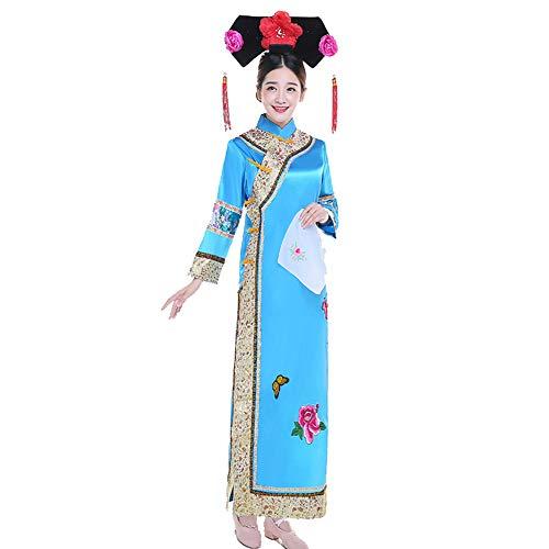 XFentech Uralt Chinesisches Kostüm - Damen Klassik Chinesischer Stil Prinzessin Kleidung National Traditionell Kleider Modernes Drama Kleidung, Blau, EU L = Tag XL (Chinesischen Nationalen Kostüm Frauen)