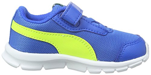 Puma Unisex-Kinder Flexracer V Low-Top Blau (Electric Blue lemonade-safety Yellow 04)