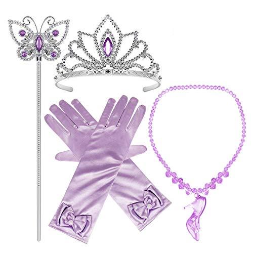 FStory&Winyee Mädchen Prinzessin Kostüm ELSA Cinderella Party Zubehör Set Dress Up Schmuck Diadem,Handschuhe,Zauberstab,Kristallschuhe-Halskette,5 Stück Geschenk Karneval Fasching Cosplay Verkleidung (Elsa Dress Up Kostüm)