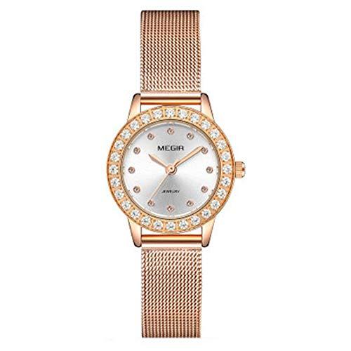 Smartwatches,Damenuhr Quarz Mode Drill-In Leder Stahl Gürtel Quarzuhr Netzgürtel Aus Muschel Rose Mit Weißem Gesicht -