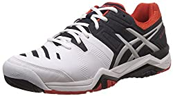 Asics Mens Gel-Challenger 10 White, Sky captain and Orange Tennis Shoes - 6 UK/India (40 EU) (7 US)