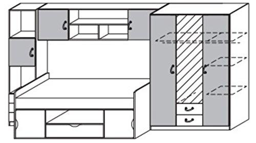 Rauch Jugendzimmer Kinderzimmer Weiß Alpin, Printdekor Blau, 4-teilig, Stellmaß BxHxT 389x198x94 cm