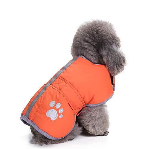te Atmungsaktiv Baumwolle äRmellos T-Shirt Hund Katze Kleider Kalt Wetter MäNtel Dachgeschoss Reversibel Winter Künstliches Fell Jacke Wiederherstellung Passen(Orange,S) ()