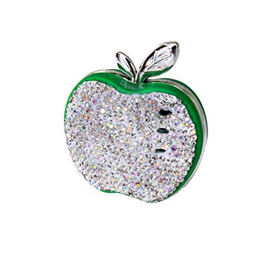 hahuha  Auto-Luftauslassrhinestone-Apple-Auto-Fester Duft-Auto-Parfüm (grün)