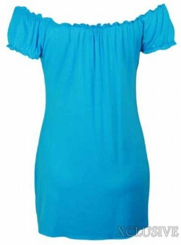 ladies plus size off shoulder gypsy long tops stretch summer boho tops Turquoise
