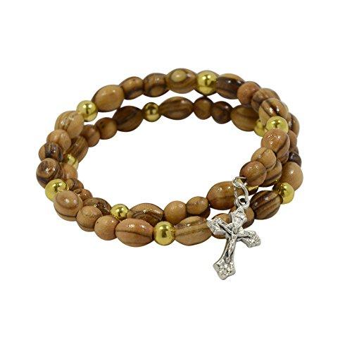 Rosenkranz-Armband mit Kreuz-Anhänger, echtes Olivenholz, elastischer Draht in Rosenkranz-Beutel -