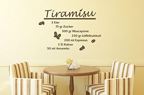 Wandtattoo Küchen Rezepte Tiramisu Nr 1 Wandsprüche Küchentattoos Küchendeko in 30 Farben von Wandtattoo-bilder Größe 140x94, Farbe Braun
