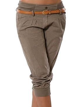 Juqilu Pantalones Capri para Mujeres 3/4 Harem Pantalones Moda Color Sólido Casual Shorts Deporte Shorts Tallas...