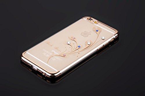 Custodia iPhone 6, iPhone 6S Cover Silicone, SainCat Cover per iPhone 6/6S Custodia Silicone Morbido, Custodia Bling Glitter Strass Diamante Silicone 3D Design Ultra Slim Silicone Case Ultra Sottile M Piume di Pavone #1