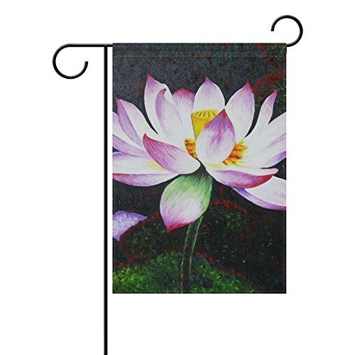 vinlin Garten Flagge Ölgemälde Lotus langlebiges Polyester Welcome Flagge Home Flagge-30,5x 45,7cm 71,1x 101,6cm, Polyester, 12x18(in) -