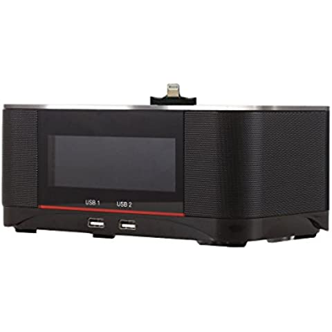 Plater A8 Speaker Della Radio di Tocco Multi-Input NFC Senza fili Bluetooth con Aggancio FM Doppio Alarm Clock Radio per iPhone 5 5S 5C 6 6+ 6S 6S + iPad Air Mini iPod-Nero