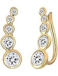 Elli Boucles d'Oreilles pour Dames en 925 Argent Cristal de Swarovski Earcuff Cercle Geo