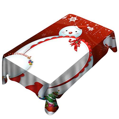 Bolanq, tovaglia rettangolare con stampa natalizia, decorazione per la casa, red, 140x140cm