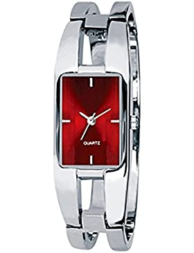 Bluelans® KIMIO Elegantes Fraun Damen Armband Quarz Armbanduhr Edelstahl Uhr Damenarmbanduhr (Rot)