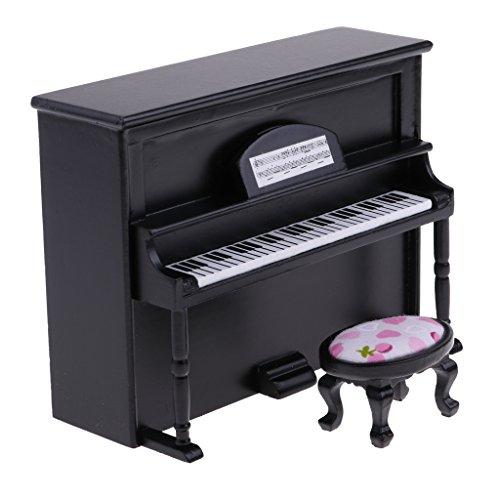 Baoblaze Miniatur Klavier + Hocker Instrument Kit für 1/12 Puppenhaus Wohnzimmer Dekoration - Schwarz