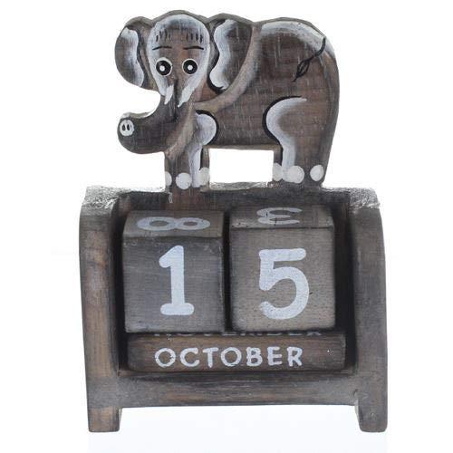 Calendario de elefantes de madera clara (A)