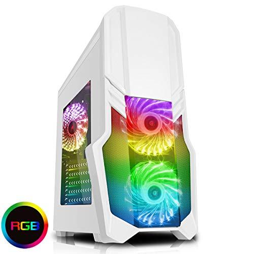 CiT G Force Gaming Gehäuse mit 15LED, Blau, Front-Ventilator weiß Wht RGB