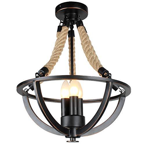 Deckenleuchte Loft Industriellen Retro Vintage Metal Hanfseil Deckenlampen E14×3 Edison Pendelleuchte Beleuchtung fur Wohnzimmer Esszimmer Küche Decke Ø 38cm (Enthält keine Lichtquelle) -