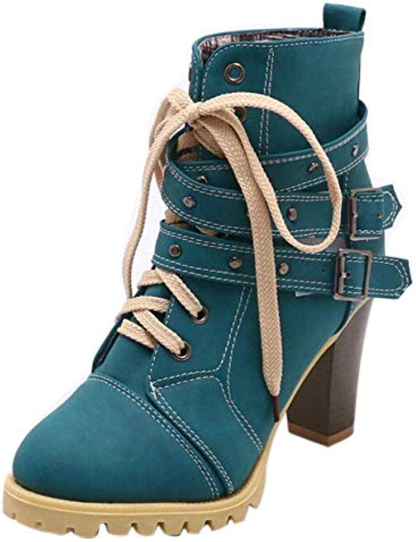 Bottes Femmes Chaussures Casual Chaussures Mode Femmes Ceinture Ceinture Femmes Boucle Rivet Haute Épaisse avec Court Bottes de... 103a2f