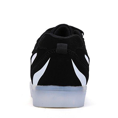 DoGeek Unisex Bambino Scarpe Con Luci Scarpe Led Luminosi Sneakers Con Luce Nella Suola Bright Tennis Shoes USB 7 Colori Lampeggiante Trainners bianca