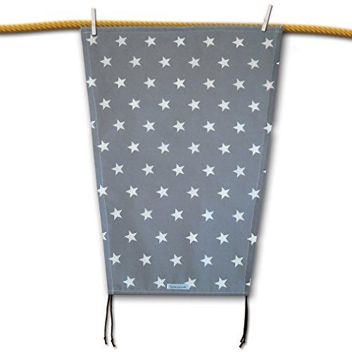 Edles Sonnensegel (grau) mit weissen Sternen für den Kinderwagen mit UV-Schutz, Sonnenschutz, universell passend