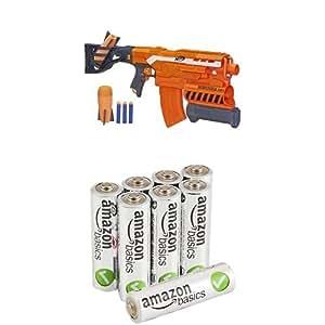NERF N-Strike  Elite Demolisher 2-in-1 Blaster with AmazonBasics AA Performance Alkaline Batteries