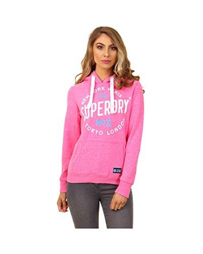 Superdry Sweater Damen CITY OF DREAMS Fluro Pink Snowy, Größe:S (Sweatshirt Hoody Dream)
